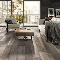 Silvery grey timber floor board look tiles, covering living room spac