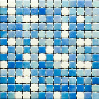 white and blue mix of glossy mosaic tiles in a 35 x 35 grid