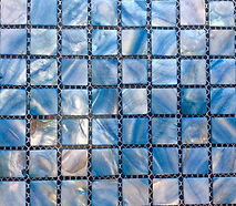 mixed blue square grid of mosaic tiles