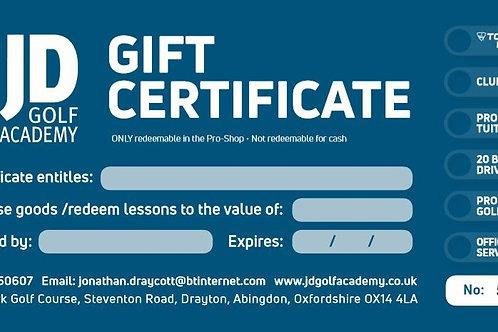 JD Golf Academy Gift Certificate