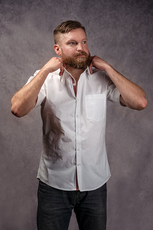Short sleeve cotton poplin dress shirt
