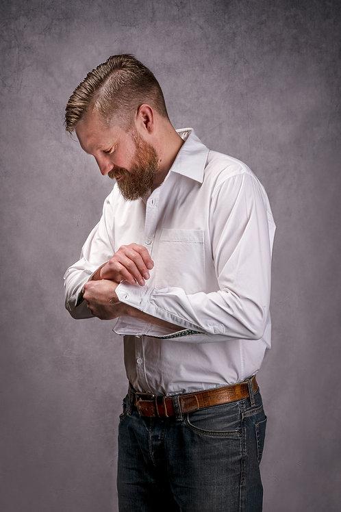 Long sleeve cotton poplin dress shirt