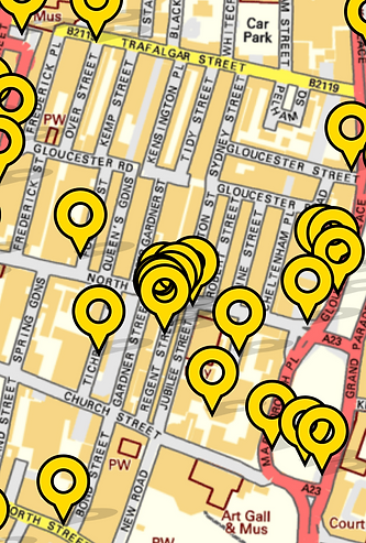 Map of North Laine from FixMyStreet