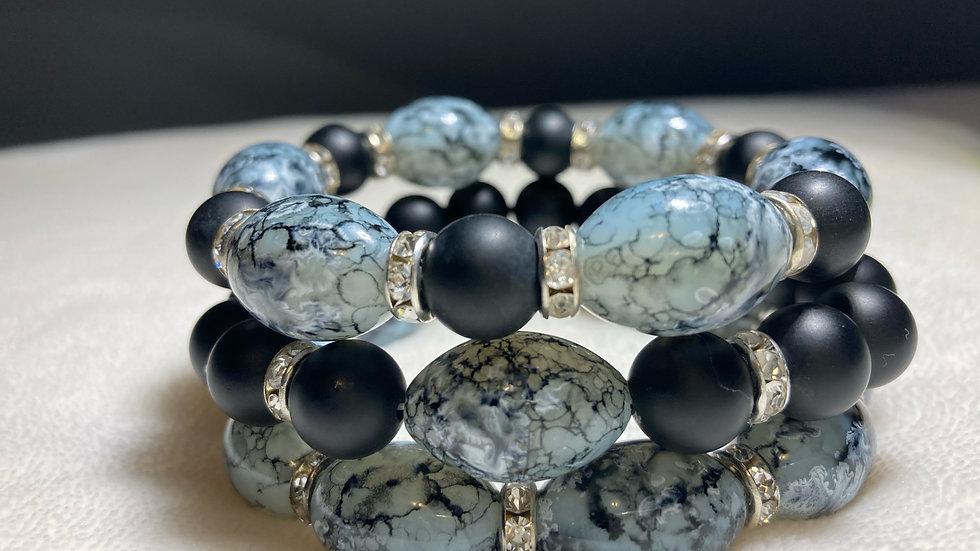 Glass Bead & Black Onyx (Stack Bracelet Set)