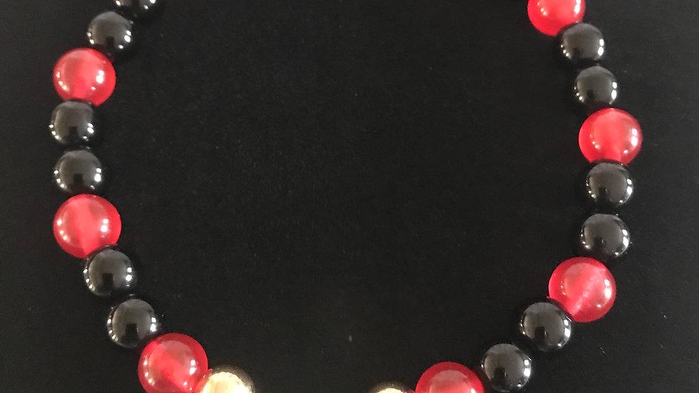 Black, Red and Gold Bracelet