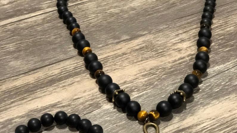 Black Onyx and Tiger's Eye Ankh Set