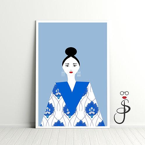 Oriental in Blue Art Print