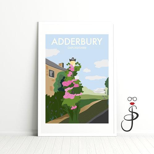 Vintage Style Adderbury Art Print