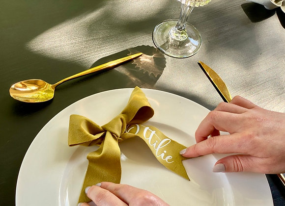 Decorative Large Mustard Name Bow