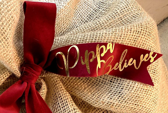 Decorative Large Ruby Red Name Bow