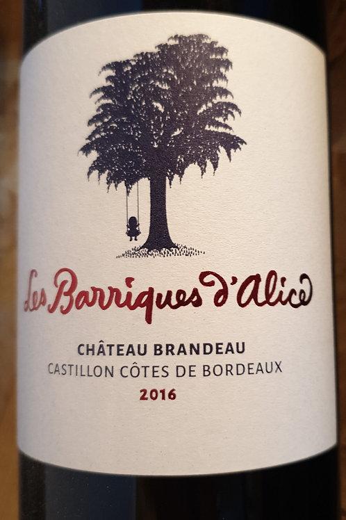 Rouge, Castillon, Château Brandeau, Barriques d'Alice