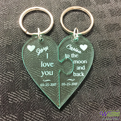 Heart-Shaped Puzzle Keychains