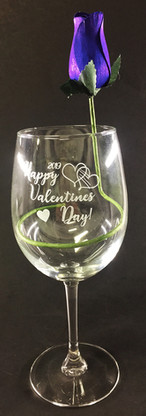 Valentine's Day Wine Glass with Rose