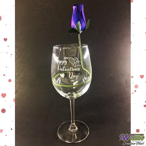 Valentine's Wine Glass w/ Rose