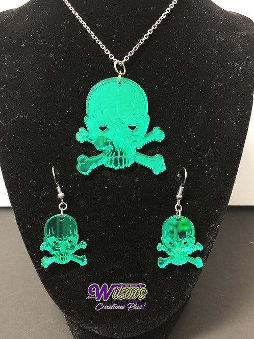 Skull Pendant & Earring Set