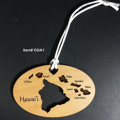 Hawaii Island Wood Ornaments Asst.