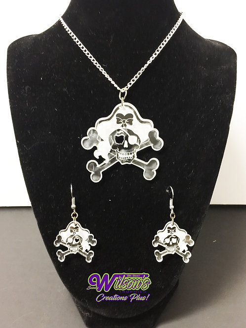 Pirate Skull with Bow Pendant & Earrings Set