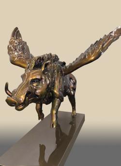Eagle on a wild boar Media:  Sculptu