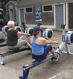 Rowers erging at National Learn to Row Day, Cape Cod Rowing