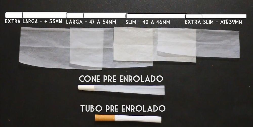 A largura da seda irá determinar a grossura do cigarro sem excesso de papel.