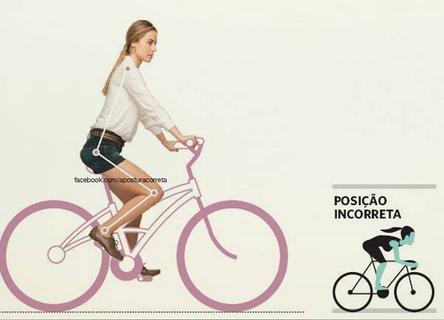Postura correta ao andar de bicicleta.