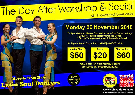 The Day After Workshops & Social with the Latin Soul Dancers (Italy)