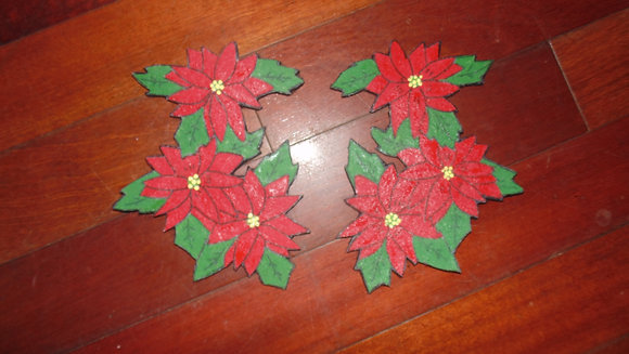 Large Decorative Refrigerator Magnets- Poinsettia