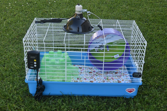 """Complete 30""""x18"""" Cage Kit with washable liner, Ceramic Heat Emitter,& thermostat"""