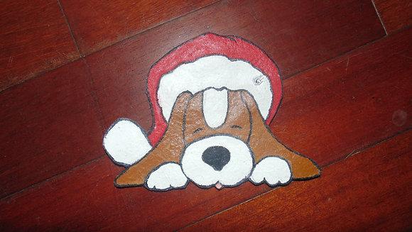Small Decorative Refrigerator Magnets- Santa dog