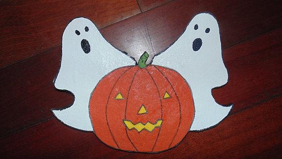 Large Decorative Refrigerator Magnets- Halloween ghost & jackolatern
