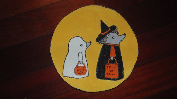 Large Decorative Refrigerator Magnets- Halloween hedgies & moon