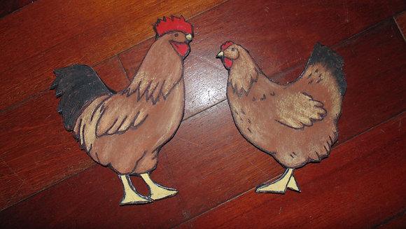 Small Decorative Refrigerator Magnet Set- PICK COLOR- Chickens