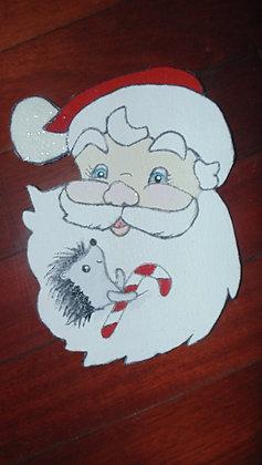 Large Decorative Refrigerator Magnets- Hedgie in Santa beard