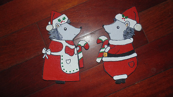 Large Decorative Refrigerator Magnet set- Santa hedgie set
