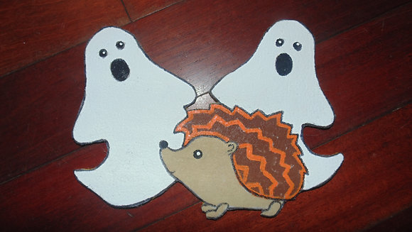 Large Decorative Refrigerator Magnets- Halloween ghost & hedgie