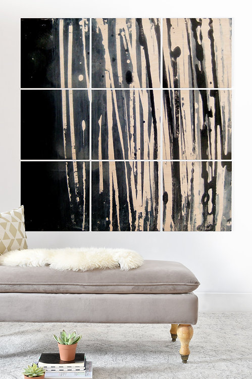 White Lines Wood Wall Mural