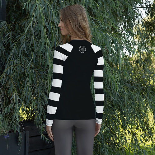 SoBudd Black and White Striped Sleeve Women's Rash Guard