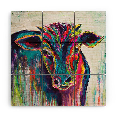 Texas Cow Wood Wall Mural