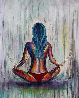 SoBudd Just Breath female yoga meditation art