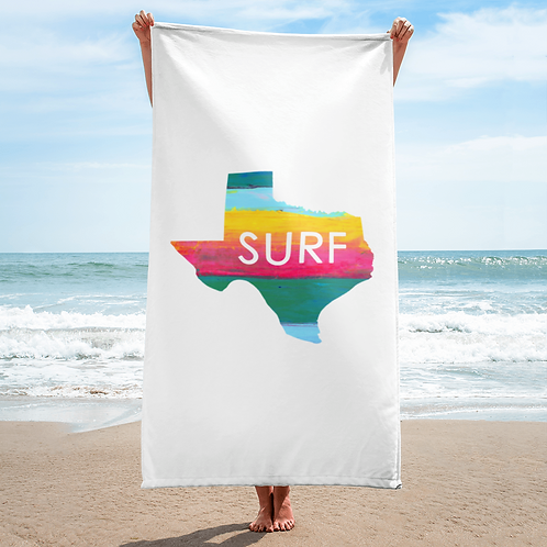 Surf Texas White Beach Towel