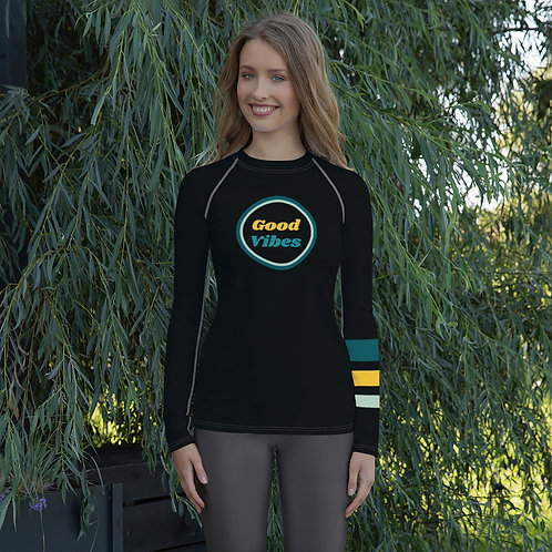 Good Vibes Women's Rash Guard by SoBudd