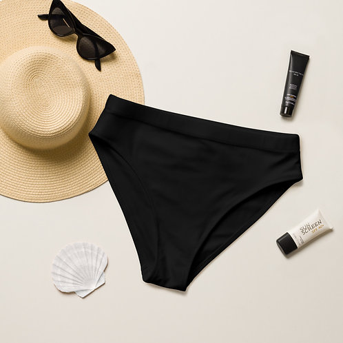 Black Recycled high-waisted bikini bottom