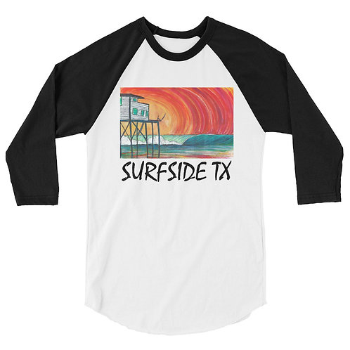 Surfside Texas 3/4 sleeve raglan shirt
