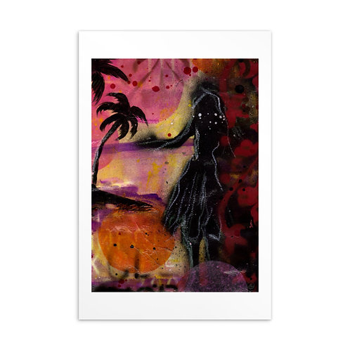 Hula Girl Mini Art Standard Postcard