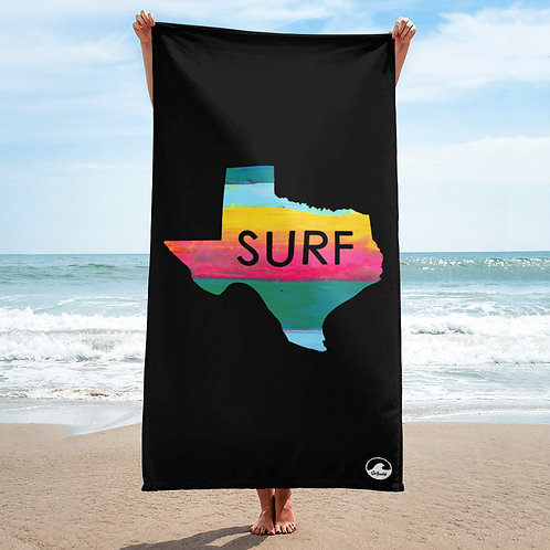Surf Texas Black Towel