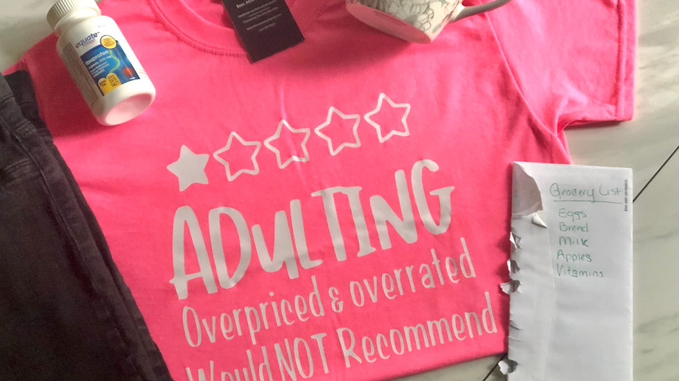 Adulting-Neon Pink/White