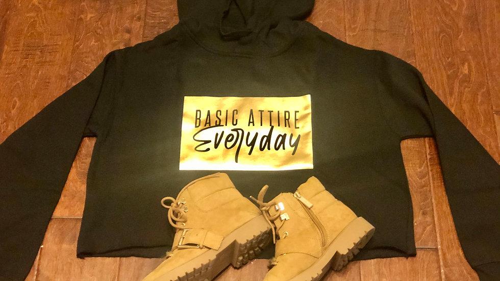 Logo Crop Top w/hoodie-Black/Gold