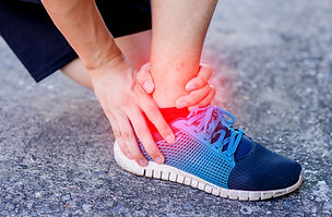 Achilles heel pain, usually in the red area indicated on the picture