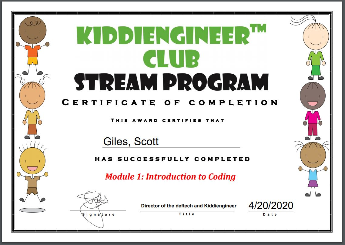 Certificate upon completion