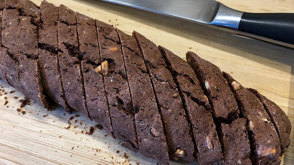 BISCOTTI, Coffee Infused in Chocolate w/Hazelnuts